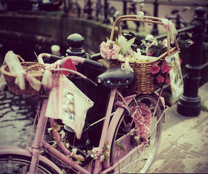 bike, flowers, and pink image
