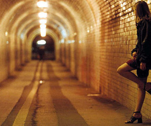 girl, tunnel, and alone image