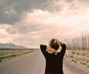 girl, road, and sky image