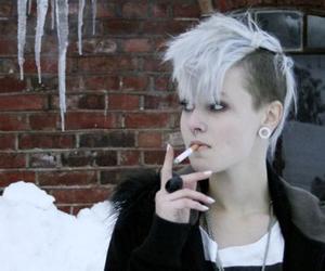 girl, snow, and smoking image