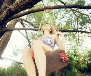 girl, swing, and tree image