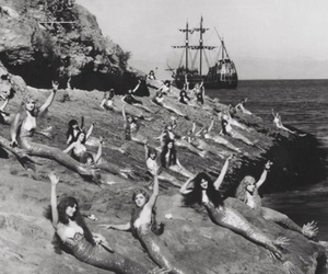 mermaid and black and white image