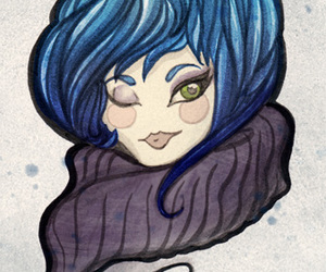 blue hair, green eyes, and scarf image
