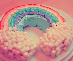 rainbow, cake, and food image