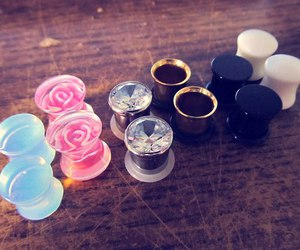 Plugs, rose, and piercing image