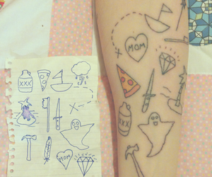 drawings, pizza, and tattoo image