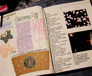 christmas, starbucks, and diary image