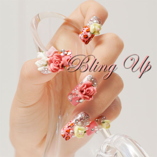 3D Nail Art Roses With Crystals On Pink Leopard Print Tips