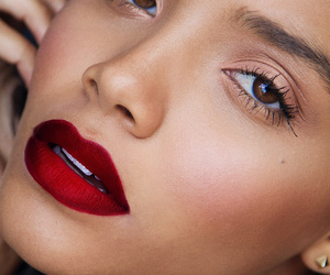 beauty, makeup, and red lip image