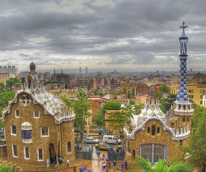 Barcelona, bird view, and city image