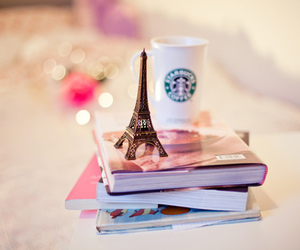 book, starbucks, and paris image