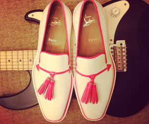 christian louboutin, guitar, and pink image