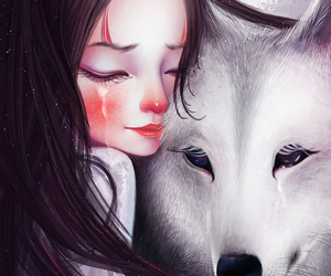art, wolf, and crying image