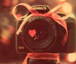 camera, canon, and heart image