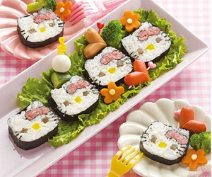 sushi, hello kitty, and food image