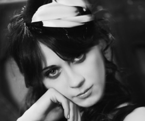 black and white, zooey deschanel, and professional photography image