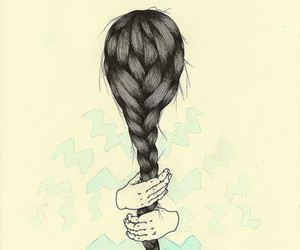 hair, braid, and illustration image