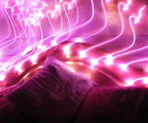 bed, bedroom, and fairylights image