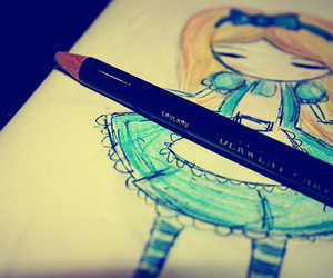 alice in wonderland, blue, and drawing image