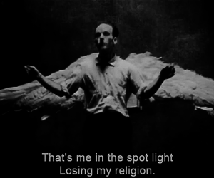 r.e.m., black and white, and rem image