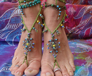 bohemian, gypsy, and summer barefoot sandals image
