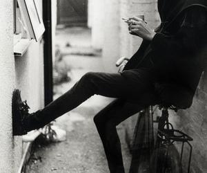 biker, black and white, and grunge image