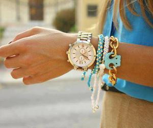 watch, bracelet, and blue image