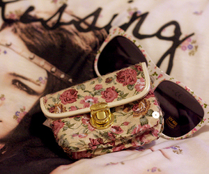 floral, bag, and flowers image