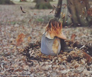 girl, autumn, and forest image