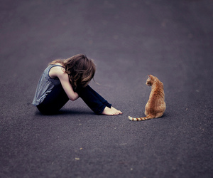 girl, cat, and sad image