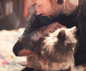 tattoo, cat, and guy image