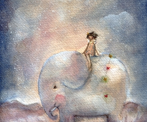 elephant, cute, and watercolor image