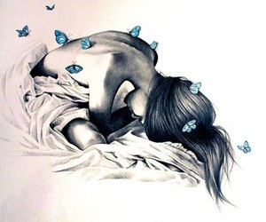 bed, girl, and butterfly image