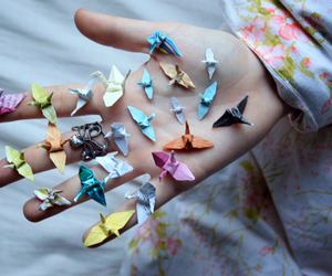 origami, bird, and hand image