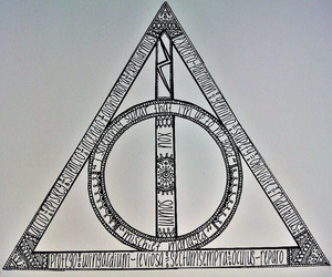deathly hallows, harry potter, and wand image
