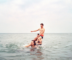 sea, friends, and girl image