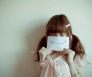 smile, girl, and Paper image