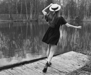 girl, hat, and dress image