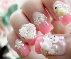 nails, pink, and bunny image
