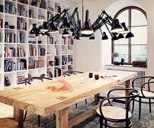 interior design, books, and house image