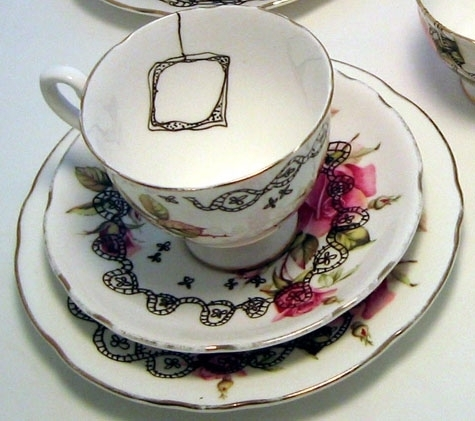 floral, tea, and tea time image