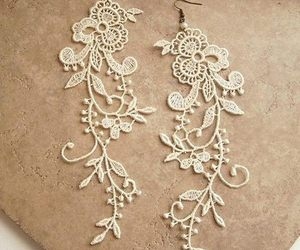 earrings, lace, and white image