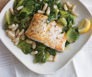 beans, halibut, and fish image