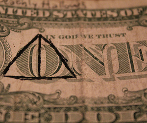 harry potter, dollar, and deathly hallows image