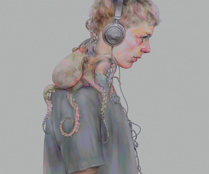 boy, octopus, and art image