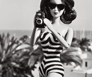barbie, black and white, and camera image