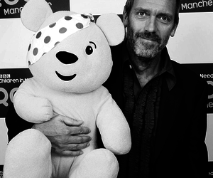 black and white and hugh laurie image