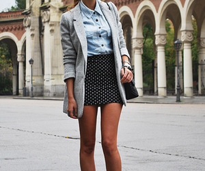 blazer, checkered, and heels image
