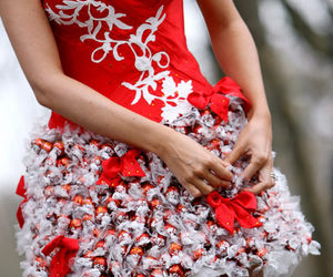 dress, chocolate, and red image