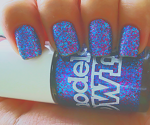 nails, glitter, and blue image